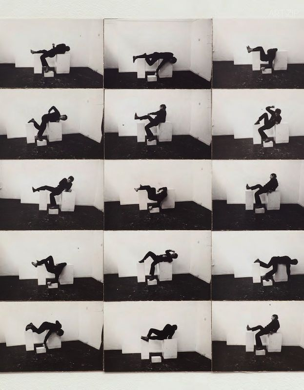 H.Bruce McLean, Pose Work for Plinths, 1971. 15 photographs mounted on card. David Roberts Collection, London