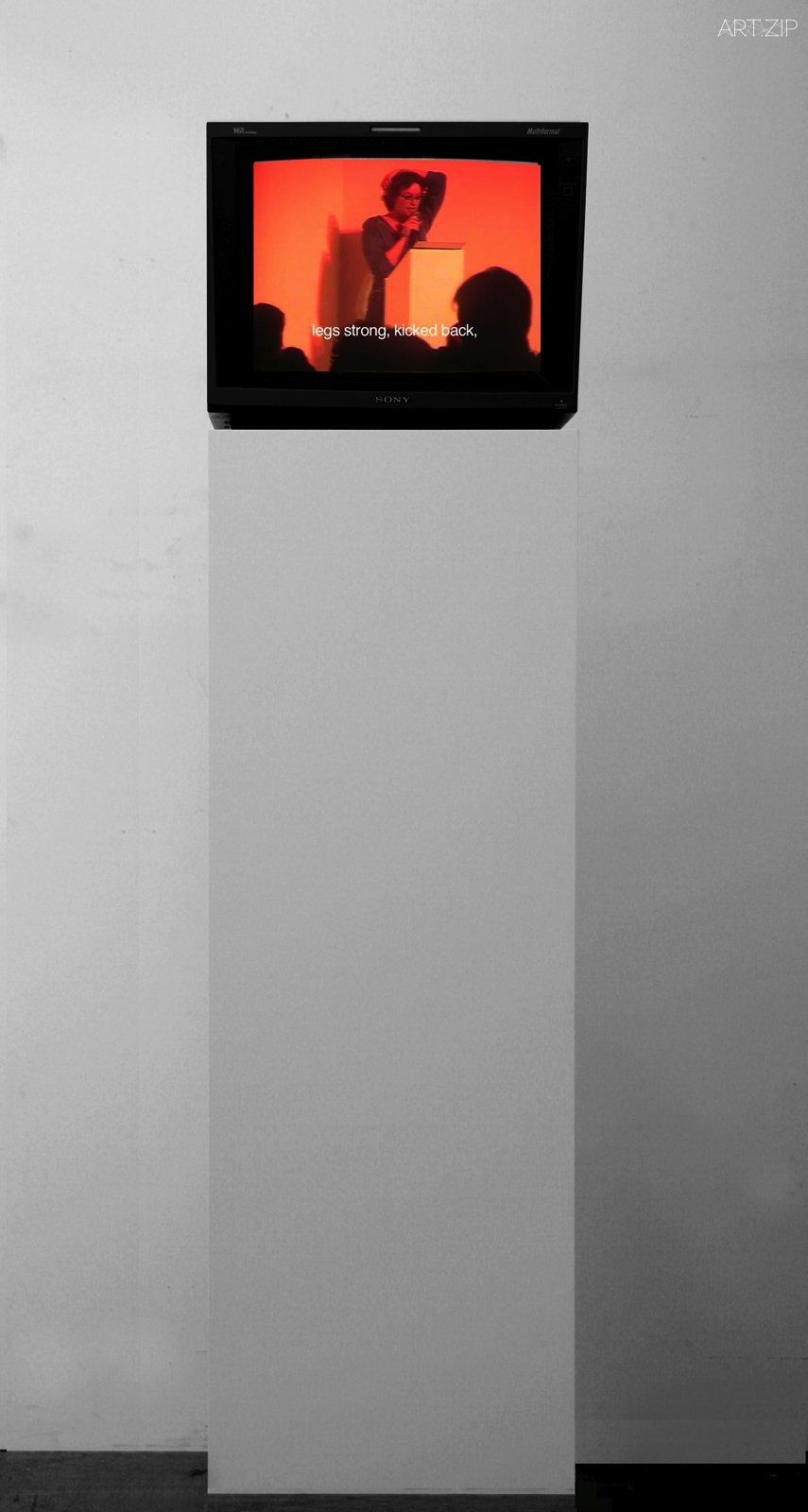Fiona Banner, Mirror, 2007. Video, monitor, plinth. 3.02 minutes. © Fiona Banner and courtesy the artist, YSP and Frith Street Gallery, London